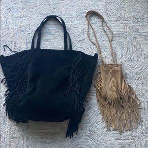 Linea Pelle Sybil black fringe tote